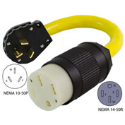 Conntek EV1050T NEMA 10-50P to NEMA 14-50R Electric Vehicle Pigtail Adapter Cord