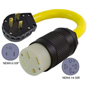 Conntek EV650T NEMA 6-50P to NEMA 14-50R Electric Vehicle Pigtail Adapter Cord
