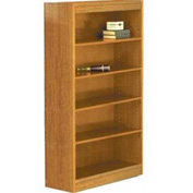 "84"" Laminate Bookcase, Medium Oak w/Steel Reinforced 1"" Shelves"