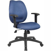Boss Task Chair with Adjustable Arms - Fabric - Mid Back - Blue