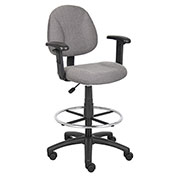 Boss Drafting Stool with Footring and Adjustable Arms -Fabric - Gray