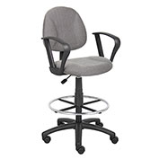 Boss Drafting Stool with Footring and Fixed Arms -Fabric - Gray
