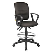 Boss Multifunction Drafting Stool with Fixed Arms - Fabric - Black