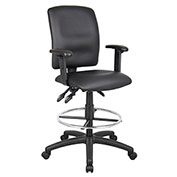 Boss Multifunction Drafting Stool with Adjustable Arms - Leather - Black