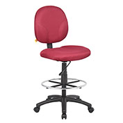 Boss Drafting Stool with Footring -Fabric - Burgundy