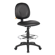Boss Drafting Stool with Footring - Vinyl - Black