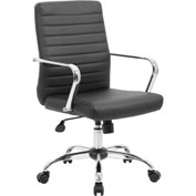 Boss Retro Task Chair - Vinyl with Chrome Fixed Arms - Black