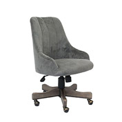 Boss Carnegie Desk Chair, Charcoal Velvet, Driftwood Finish