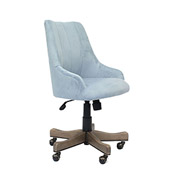 Boss Carnegie Desk Chair, Light Blue Velvet, Driftwood Finish
