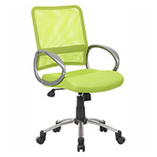Boss Mesh Back w/ Pewter Finish Task Chair, Lime Green