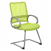 Boss Mesh Back w/ Pewter Finish Guest Chair, Lime Green