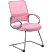 Boss Mesh Back Guest Chair with Arms - Fabric - Mid Back - Pink