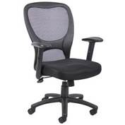Boss Mesh Task Chair with Arms - Fabric - High Back - Black