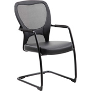 Boss Mesh Back Guest Chair with Arms - Leather - Mid Back - Red