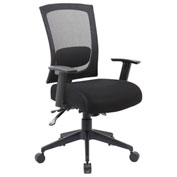 Boss Multifunction Mesh Office Chair with Arms and  Seat Slider - Fabric - Mid Back - Black