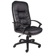 Boss Executive Office Chair with Arms and Spring Tilt - Leather - High Back - Black