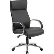 Boss Executive Office Chair with Arms - Vinyl - High Back - Black
