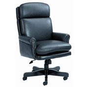 Boss Executive Office Chair with Arms and Pillow Top - Leather - High Back - Black