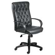Boss Office Chair with Arms and Knee Tilt - Leather - High Back - Black