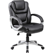 Boss Executive Office Chair - Leather - Mid Back - Black - No Tool Assembly