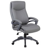 Boss Executive Office Chair with Arms and Pillow Top - Vinyl - High Back - Gray
