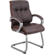 Boss Reception Guest Chair with Arms - Leather - Mid Back - Brown