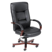 Boss Executive Office Chair with Arms and Pillow Top and Knee Tilt - Leather - High Back - Black
