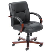 Boss Office Chair with Arms - Leather - Mid Back - Black