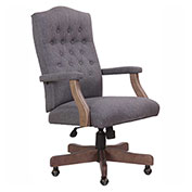 Boss Classic Slate Gray Linen Chair w/ Driftwood Finish
