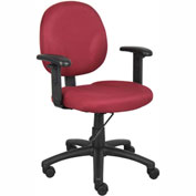 Boss Office Task Chair with Arms - Fabric - Mid Back - Burgundy