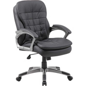 Boss Executive Office Chair with Arms and Pillow Top - Vinyl - Mid Back - Black