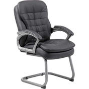 Boss Reception Guest Chair with Arms and Pillow Top - Vinyl - Mid Back - Black