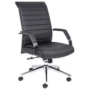 Boss Ribbed Office Chair with Arms - Vinyl - High Back  - Black