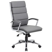 Boss Ribbed Executive Office Chair - Vinyl - High Back - Gray