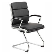 Boss Reception Guest Chair with Arms - Vinyl - Mid Back - Black