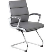 Boss Executive Guest Chair with Metal Chrome Finish - Gray