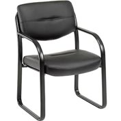 Boss Waiting Room Chair with Arms - Leather - Black