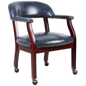 Boss Ivy League Executive Captain's Chair with Casters - Vinyl - Blue