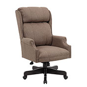 Boss Traditional High-Back Chair, Tan Linen w/ Black Base