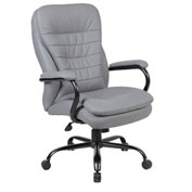 Boss Big and Tall Office Chair with Arms and Pillow Top - Vinyl - High Back - Gray