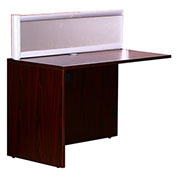 "Boss 48""W Reception Desk Return with Window - Mahogany"