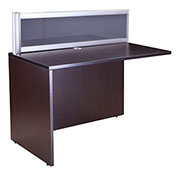 "Boss Plexiglass Reception Return, Mocha 24""W x 48""D x 42.5""H"