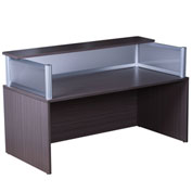 "Boss Reception Desk with Plexiglass - 71""W x 36""D x 36""H - Driftwood"