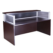 "Boss Plexiglass Reception Desk, Mocha 71""W x 36""D x 43.5""H"