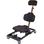 Milagon Brio 12 Flexible Polyurethane Cushioned Overhead Work Seat with 4 Self-Braking Casters