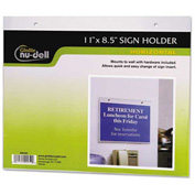 "Nu-Dell Horizontal Wall Sign Holder 5/16"" x 11-1/8"" Clear"