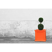 "Oxford 20"" Square Planter, Coral Orange"