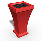 Bordeaux 24 Gallon Commercial Waste Bin, Poppy Red - 8866-PR