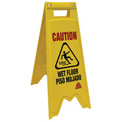 O-Cedar Commercial Floor Safety Sign Bilingual 2 Sided 6/Case - 96991 - Pkg Qty 6