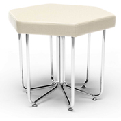 OFM Hex Series Vinyl Stool with Chrome Frame Linen